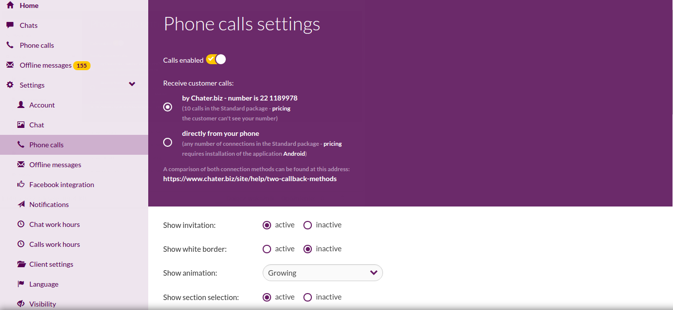 activation of telephone calls
